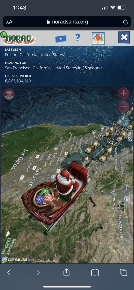 #NORADTracksSanta evidence that Santa came to my home (hmm, my city, to be more accurate 😅) last night 😁🎁🎅🎄 #MerryChristmas to all my friends and family!