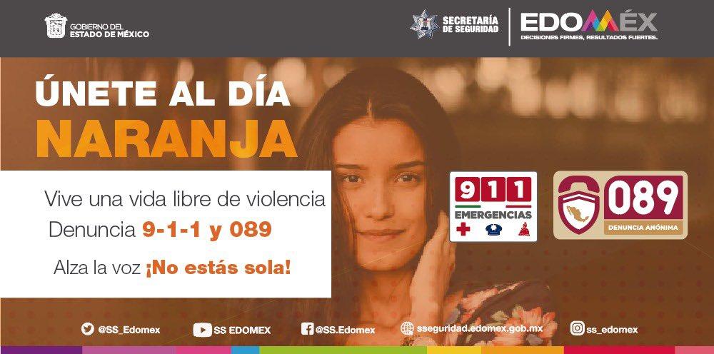 La Secretaría de Seguridad del Estado de México te invita a sumarte a la campaña del #DíaNaranja 🟠 para erradicar la violencia contra las mujeres y niñas. ¡Únete, no estás sola!