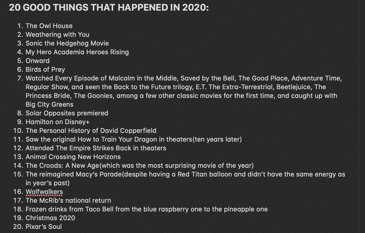At least in my opinion, here are 20 Good Things That Happened in 2020(and #Mandalorian S2): #2021WillBeBetter #TheOwlHouse #SonicMovie #MyHeroAcadamia #Onward #SolarOpposites #Hamilton #AnimalCrossingNewHorizons #Wolfwalkers #McRib #PixarSoul #Christmas2020 #MacysParade