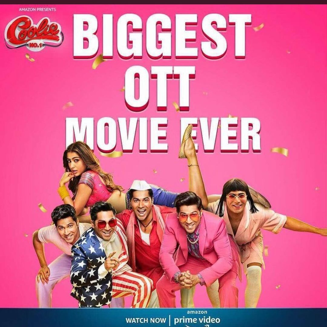 #CoolieNo1 Became the BIGGEST OTT Movie Ever... And Most Viewed Film on OTT in 24 Hours !!!   Congratulations @Varun_dvn @SirPareshRawal @iamjohnylever @rajpalofficial & Team 👏  #CoolieNo1OnPrime #CoolieNo1Review