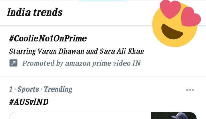 #CoolieNo1OnPrime Trending in india 😍😍😍😘😘😘👌👌👌👌👌👌👌