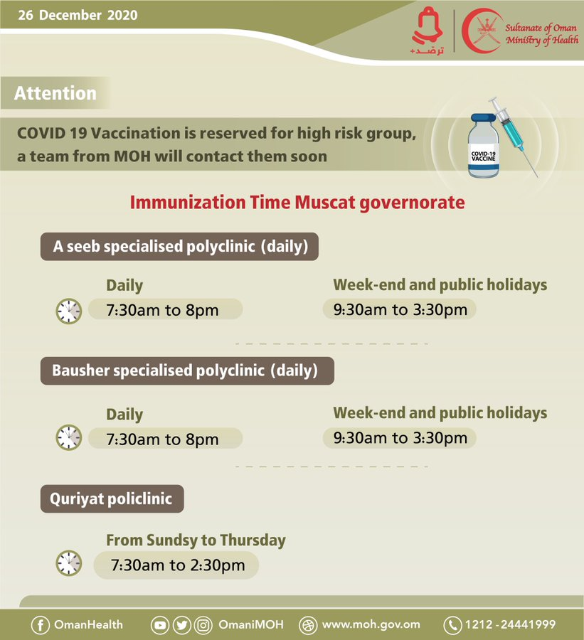 💡Immunization Time Muscat Governorate🔴#COVID19 Vaccination is reserved for high risk group, a team from MOH will contact them soon.