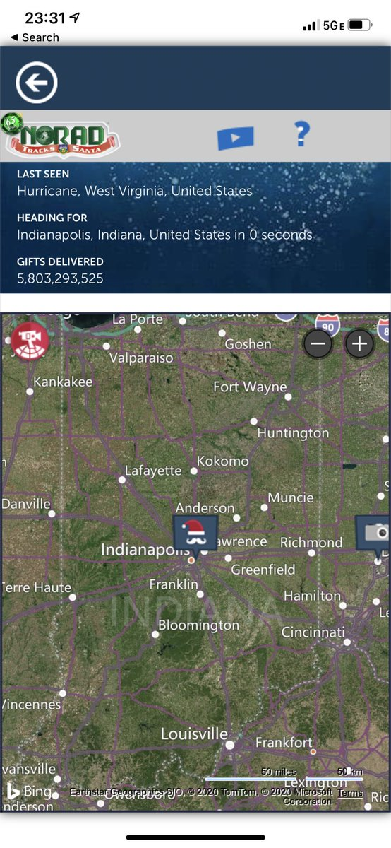 Loved catching #Santa 🎅🏼 flying over me on #ChristmasEve2020! Thank you @NoradSanta for tracking him! #MerryChristmas and #HappyHolidays to all! (Belatedly.)  #SantaClaus🎅🏼 #NORADTracksSanta #Indianapolis