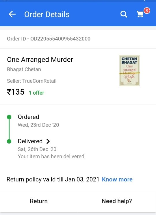 आखिरकार लंबे इन्त्जार के बाद ही सही पर मेरे पास भी #onearrangedmurder आ गया!!  @chetan_bhagat @chetan_karn @Flipkart