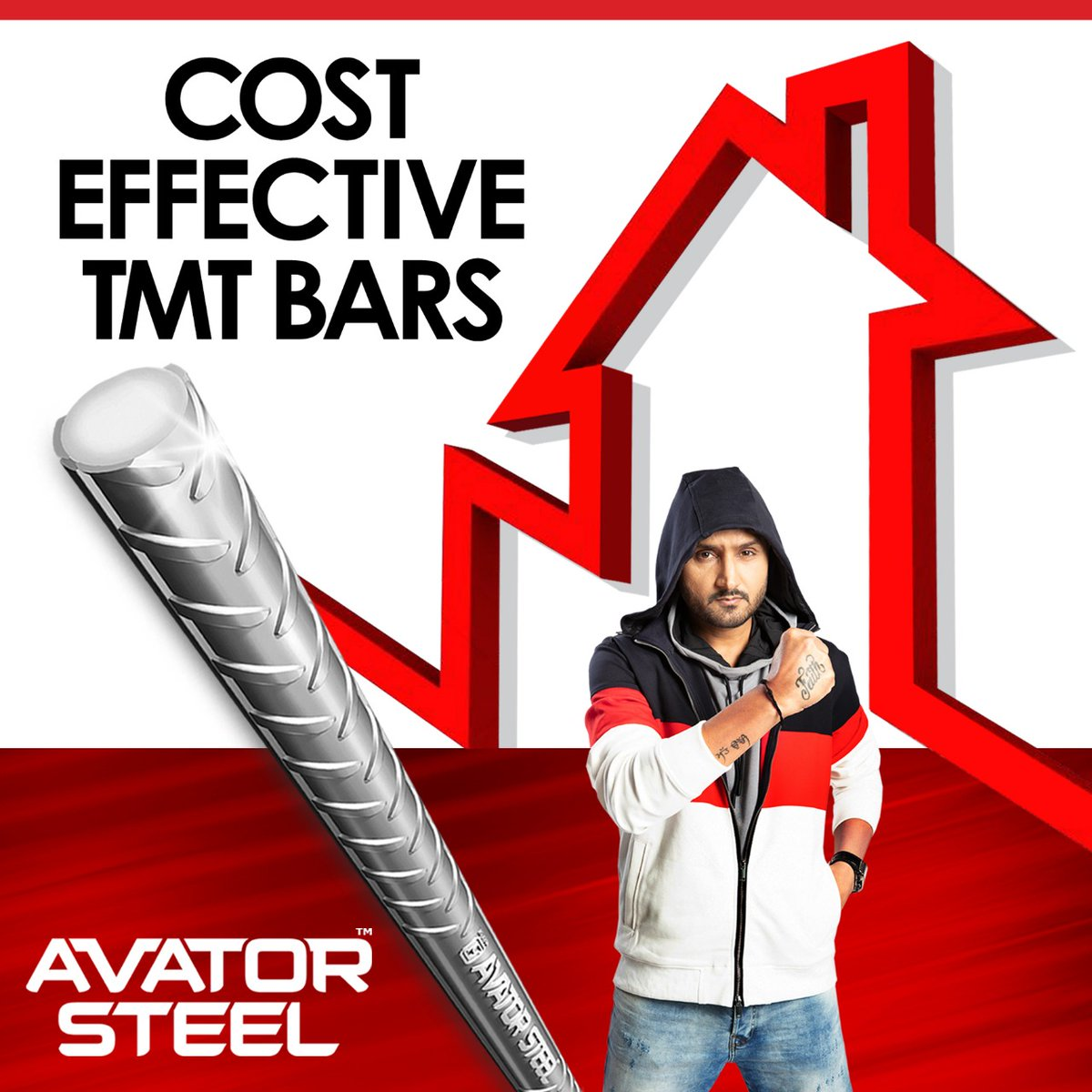 It requires less TMT bars to build your home when you choose #AvatorSteel.  Hence saving cost and time.   @harbhajan_singh
