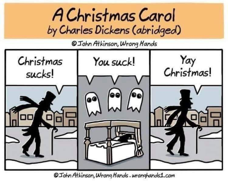 The three acts of A Christmas Carol have never been explained more succinctly than this. #WritingCommunity
