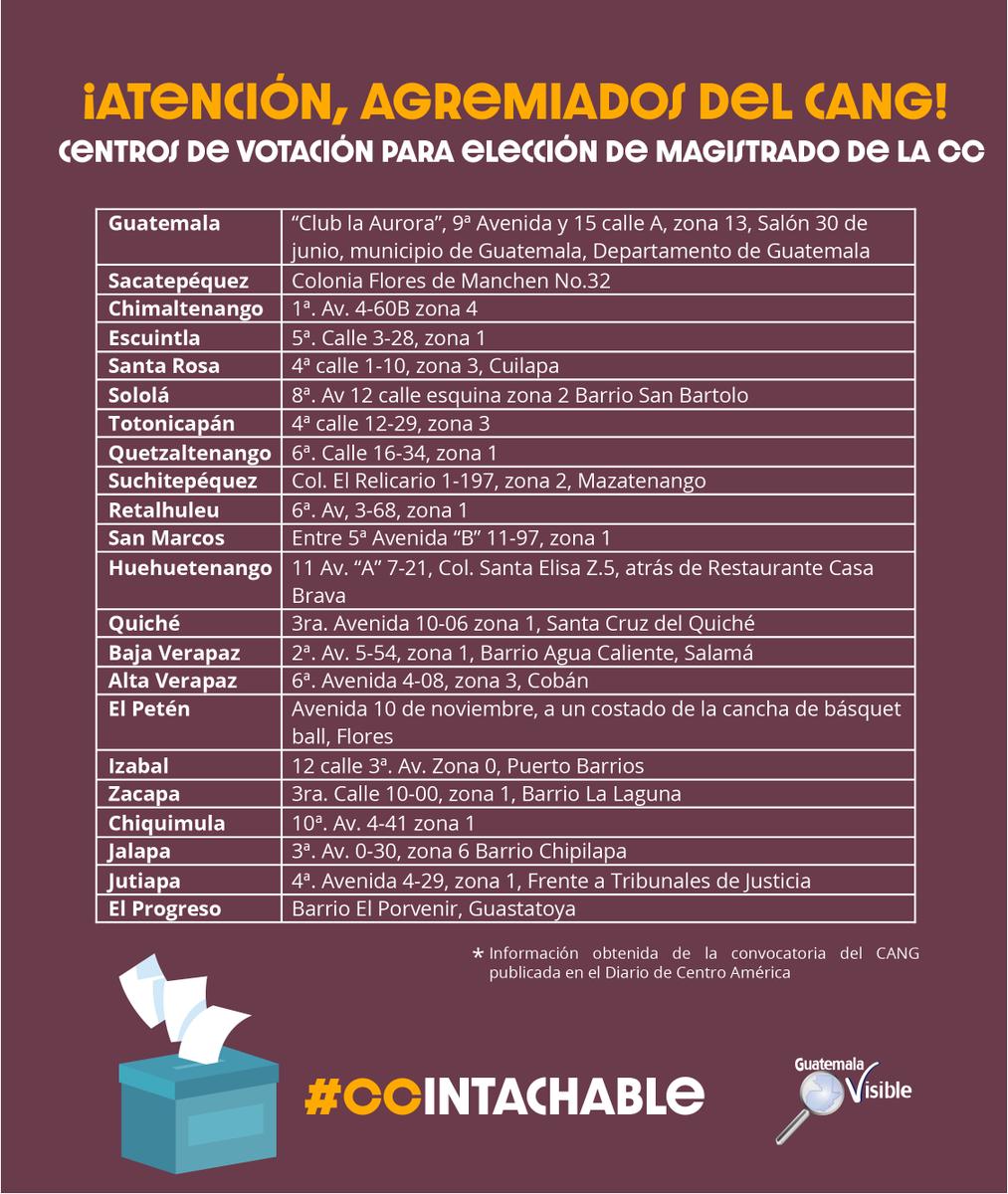 #CCIntachable ¡Atención, abogados, politólogos, internacionalistas y sociólogos! Compartimos los centros de votación para elección de magistrado de la  @CC_Guatemala #EleccionesVisibles