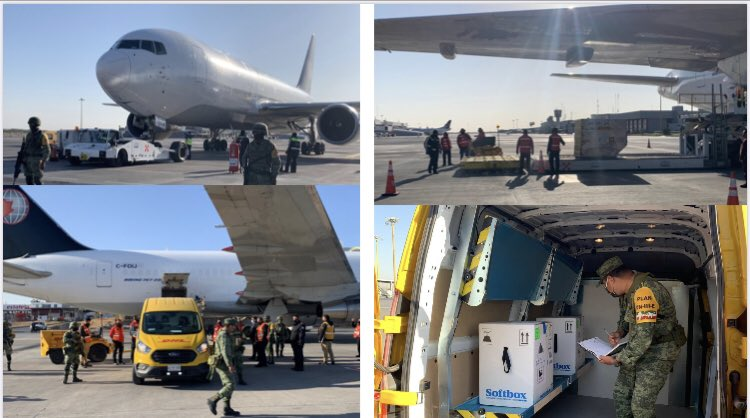 Comparto fotos de la llegada de las primeras vacunas al Aeropuerto de Monterrey. @OMAeropuertos