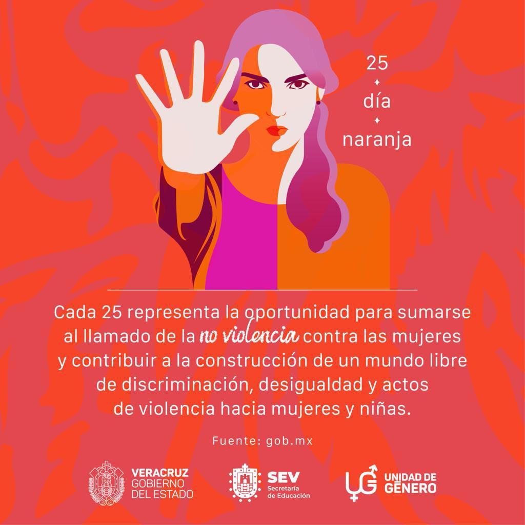 El 25 de cada mes se conmemora el #DíaNaranja, un día para actuar, generar conciencia y erradicar la violencia contra mujeres y niñas.
