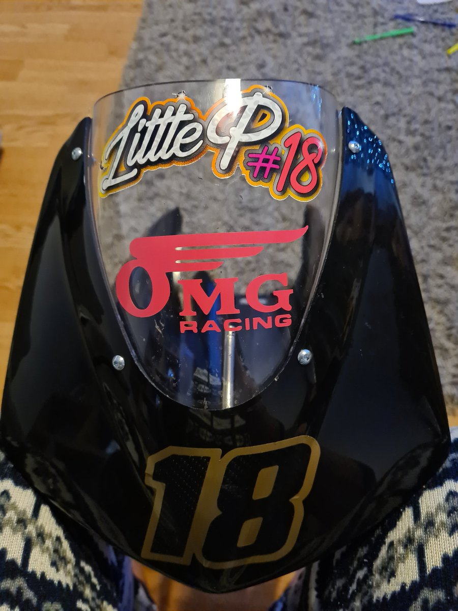2 more stickers added to the bike #littleP #omgracinguk #minibikes #minimoto #girlsonbikes #girlswhorace