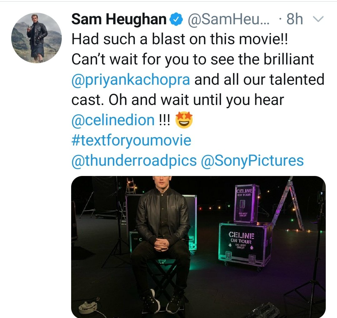 Sam made me start again with Saturday (yeah, the man is relentless 😁) by posting one last picture from the set of #TextForYouMovie, even tho he wasn't quite done filming🙈! But he had a blast & complimented Pri & the cast. Can't wait for the movie! #SamHeughan #PriyankaChopra