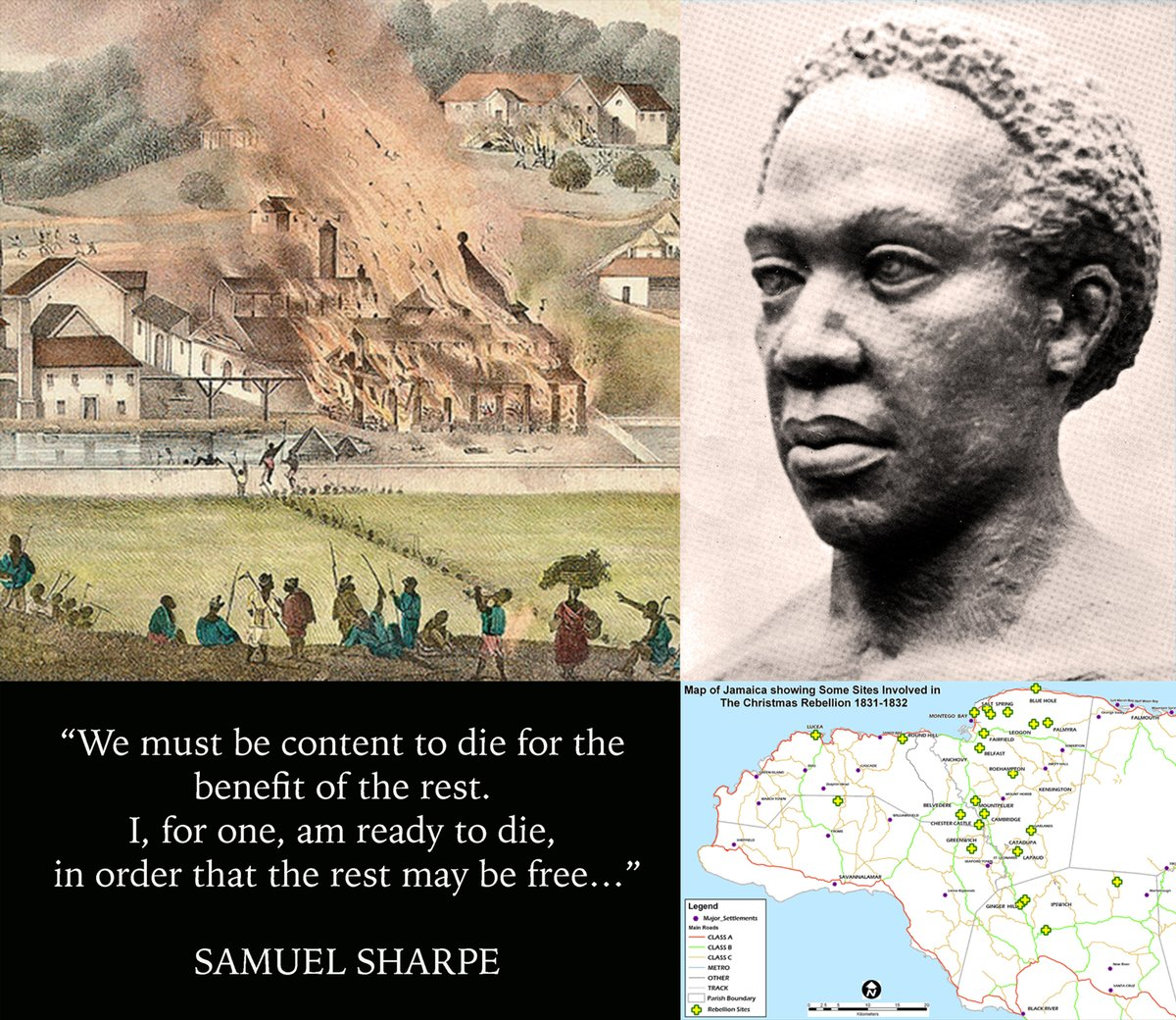 189 yrs ago on 27 Dec 1831 a Christmas Day strike by enslaved Africans organised by Samuel Sharpe escalated into a revolt that hastened slavery's end across the British Empire. In time, Sharpe will be recognised not only as a hero for Jamaicans, but as a hero for all of humanity.