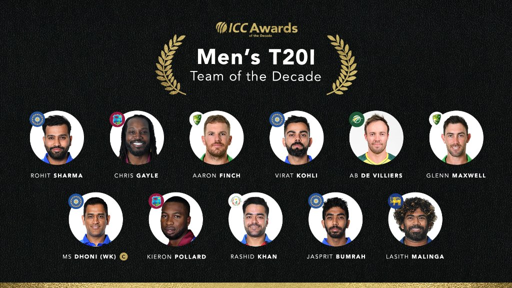 The ICC Men's T20I Team of the Decade. And what a team it is! ⭐   A whole lot of 6️⃣-hitters in that XI!