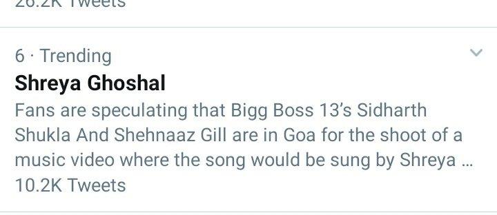 Waahhhh @shreyaghoshal didia trending ahhaaaaa .. love you so much ❤