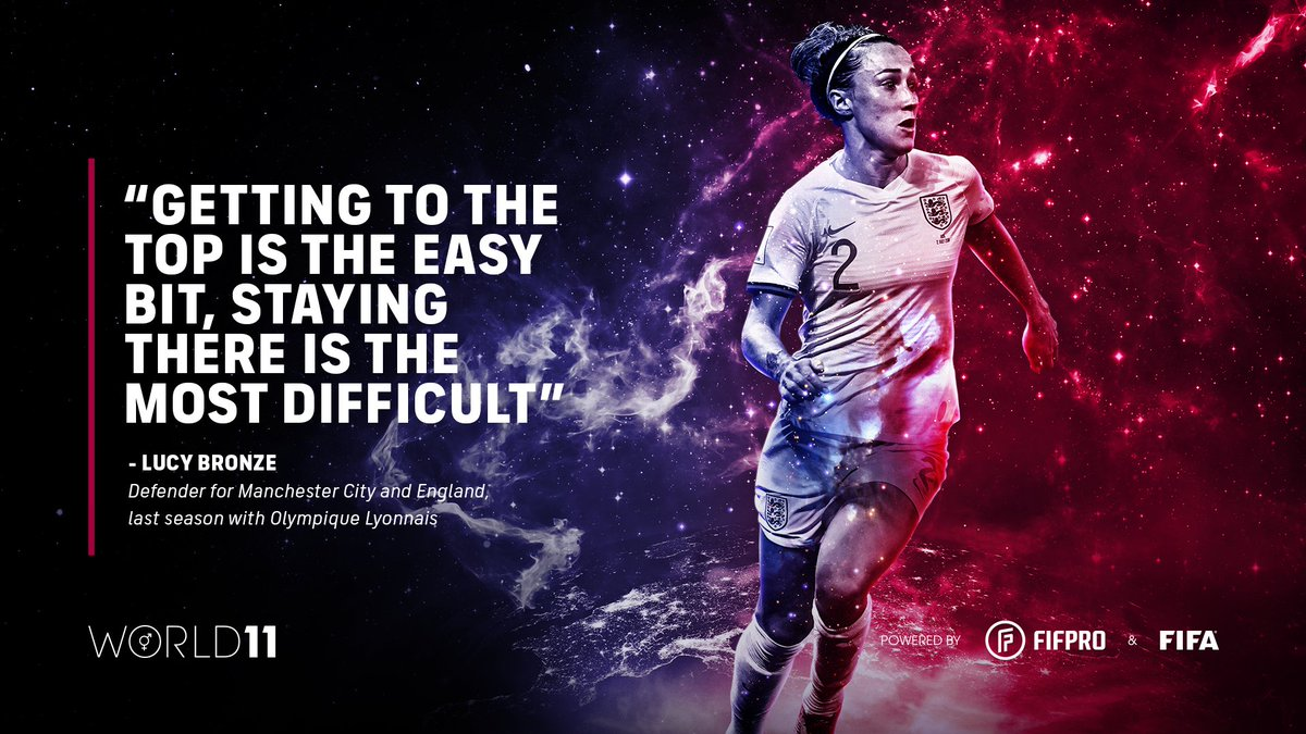 """""""Getting to the top is the easy bit, staying there is the most difficult."""" – @LucyBronze on winning her third World 11 award 🏆👏 @ManCity @ManCityWomen @PFA   Find out what it means to win a #World11 award ⬇️"""
