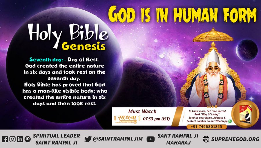 #GodMorningWednesday  GOD IS IN FORM  God Created Human Beings; Making Them To Be Like Himself. He Created Them Male And Female. -Saint Rampal Ji Maharaj For More Information Visit Satlok Ashram YouTube Channel #FridayThoughts  #GodMorningFriday