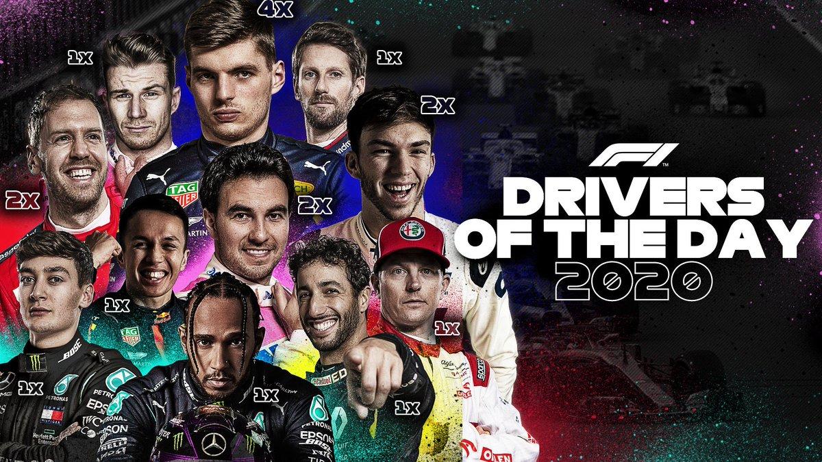 2020 sezonunda ''Günün Sürücüsü'' seçilen pilotlar bu şekildeydi...  En çok kazanan isim 4 kez ile Verstappen. #F1DriverOfTheDay