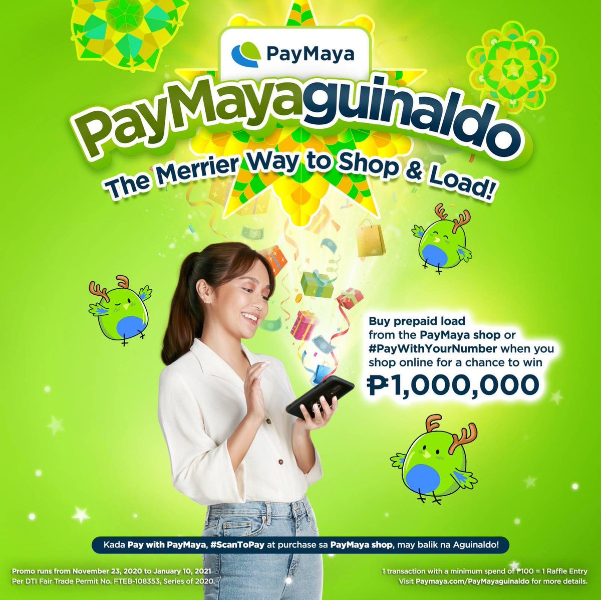 It's never too late to greet and send gifts this Christmas! With @paymayaofficial, mag-load for yourself and for your loved ones from the PayMaya shop or #PayWithYourNumber for your online orders for a chance to be an instant millionaire in the grand draw.   #DontPayCashPayMaya