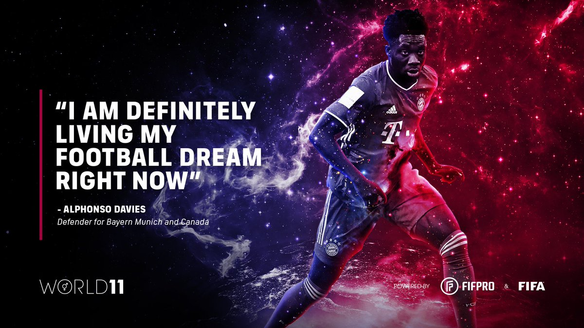 """""""I am definitely living my football dream right now""""  – @AlphonsoDavies on winning his first World 11 award 🏆👏 @FCBayern @FCBayernEN @canada_pfa  Find out what it means to win a #World11 award ⬇️"""