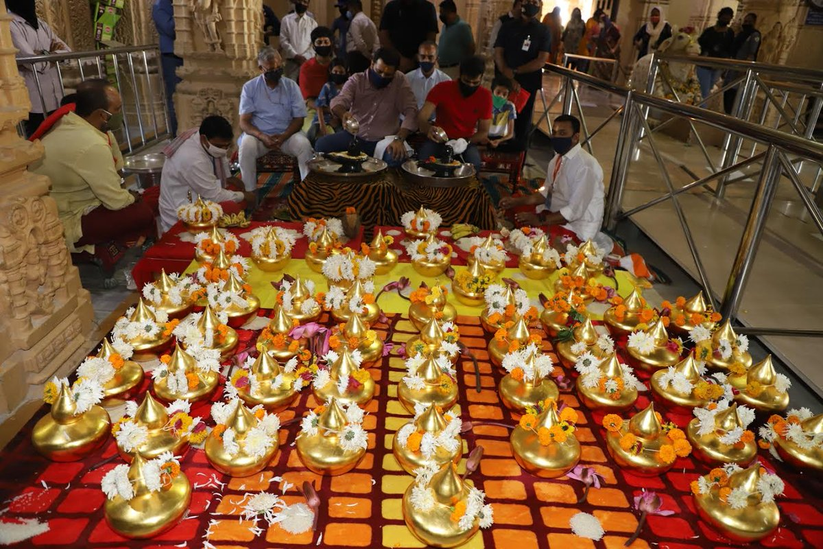 Puja of 53 golden kalash performed and offered to Somnath Mandir