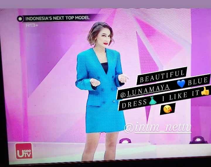 Wow blue dress👗 @LunaMaya26 very beautiful 💙 I like it 👍😘 @netmediatama #indonesiasnexttopmodel