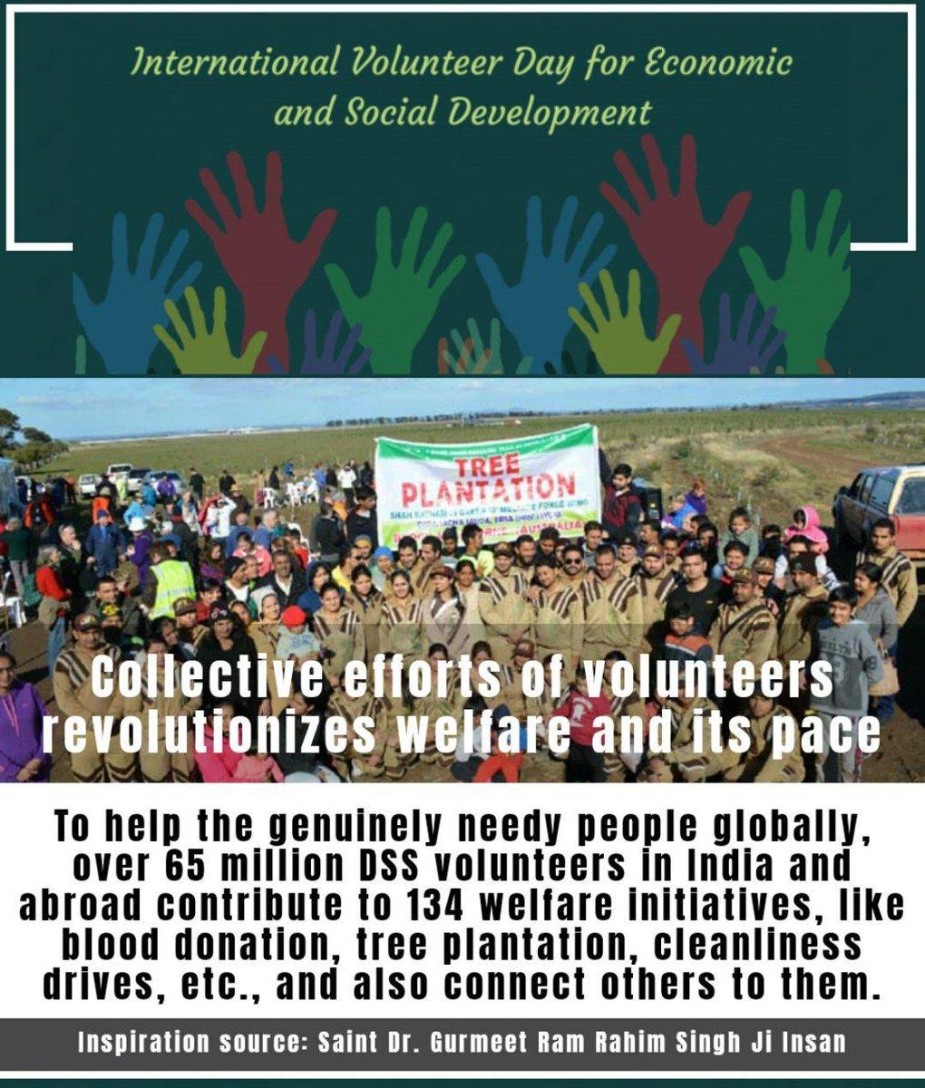 #IVD2020 आज  #InternationalVolunteerDay है @DeraSachaSauda के 6.5 करोड़  #Volunteers मानवता भलाई के कार्य अपनी इच्छा करने के लिए तैयार हैं जैसे खूनदान, ग़रीबों की मदद, बेघर को घर,भुखे को खाना, ग़रीब की लड़की की शादी जो कि संत डॉ @GurmeetRamRahim जी इंसान की शिक्षा से शंभव हुआ है