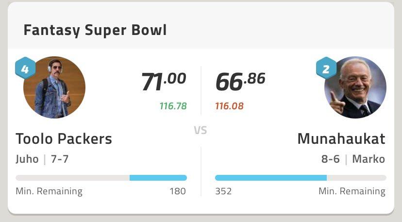 Tiukille menee Fantasy Super Bowl. Allekirjoittaneella parin jaardin johto💪 #nfl #NFLFantasyApp #NFLfi