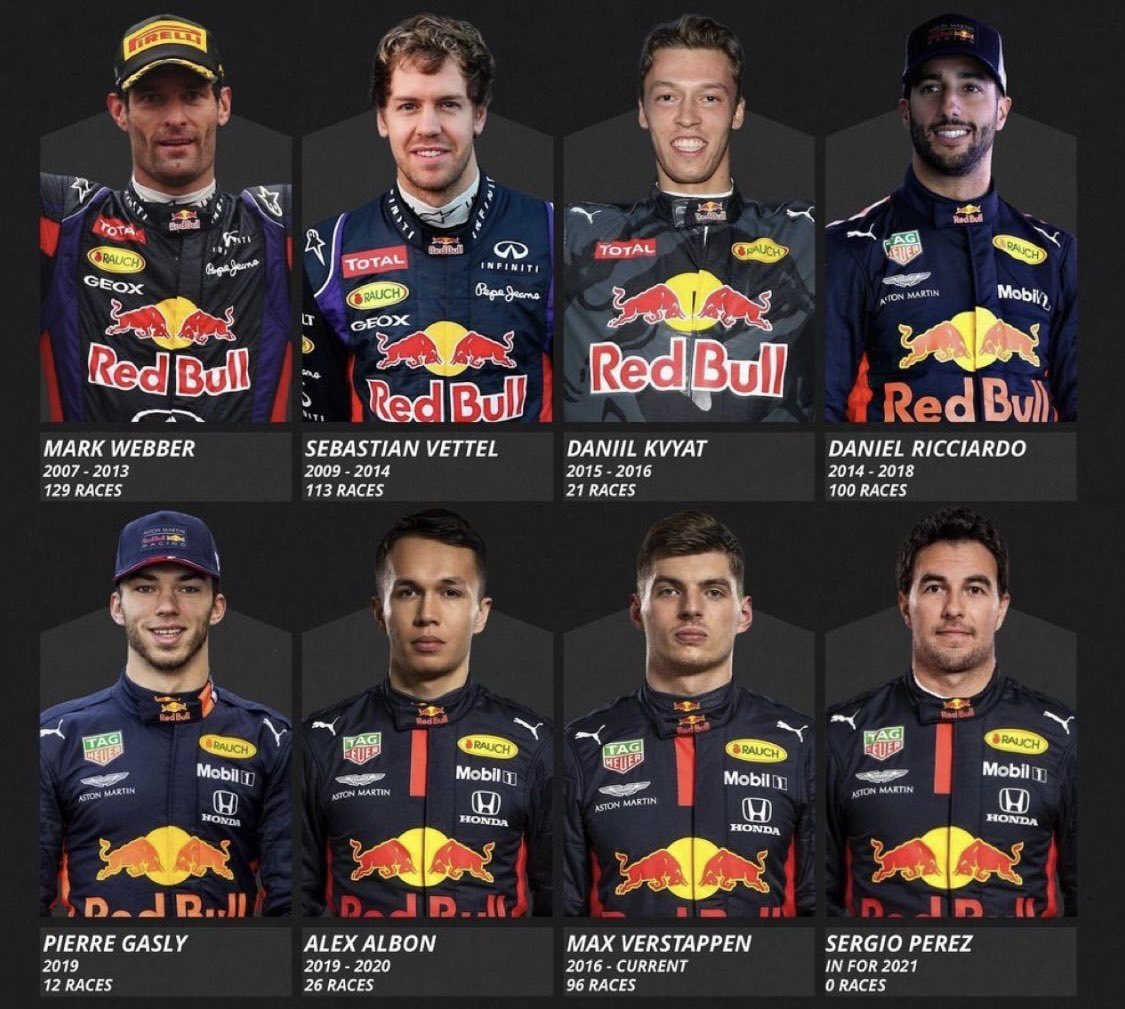 Pilotos de la escudería #RedBull #F1 2️⃣0️⃣0️⃣7️⃣ - 2️⃣0️⃣2️⃣1️⃣ #F1 #F12021 #F1DriverOfTheDay #GivesYouWings #Champion #checoperez #checo #Checo10YearsF1 #checogivesyouwings #Congratulations #CRACKS #Formula1
