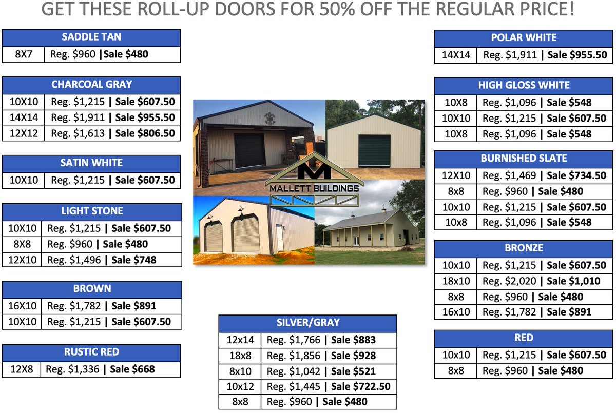 Need a new roll up door after #HurricaneLaura, #HurricaneDelta, & #HurricaneZeta?   Check out the doors we have in stock for 50% off of the regular listed price on this chart!  Text us with any questions! (337) 214-0428!