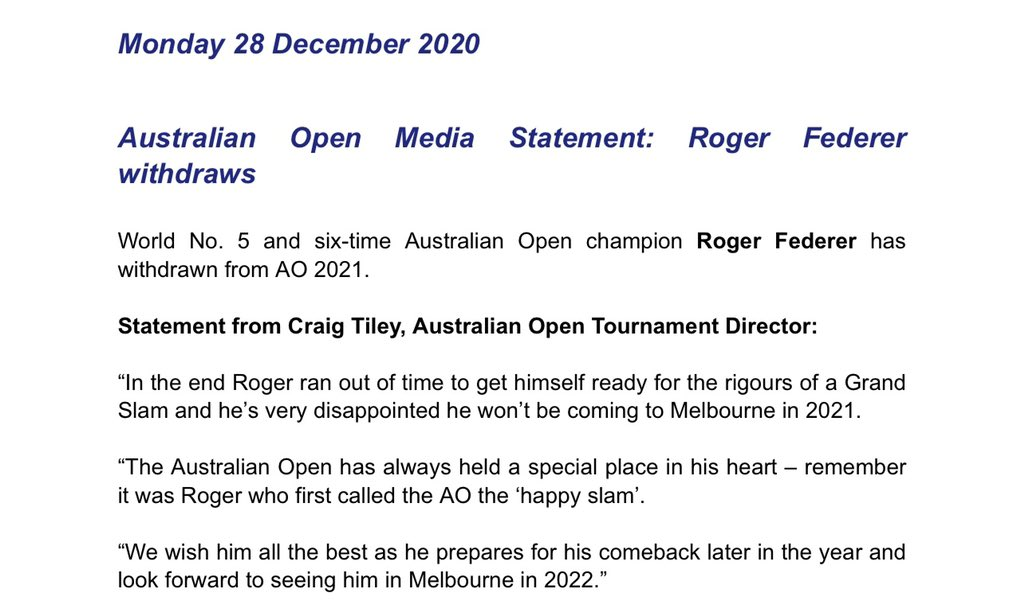 All the best with your recovery @rogerfederer. Look forward to seeing you back at the #AusOpen in 2022.