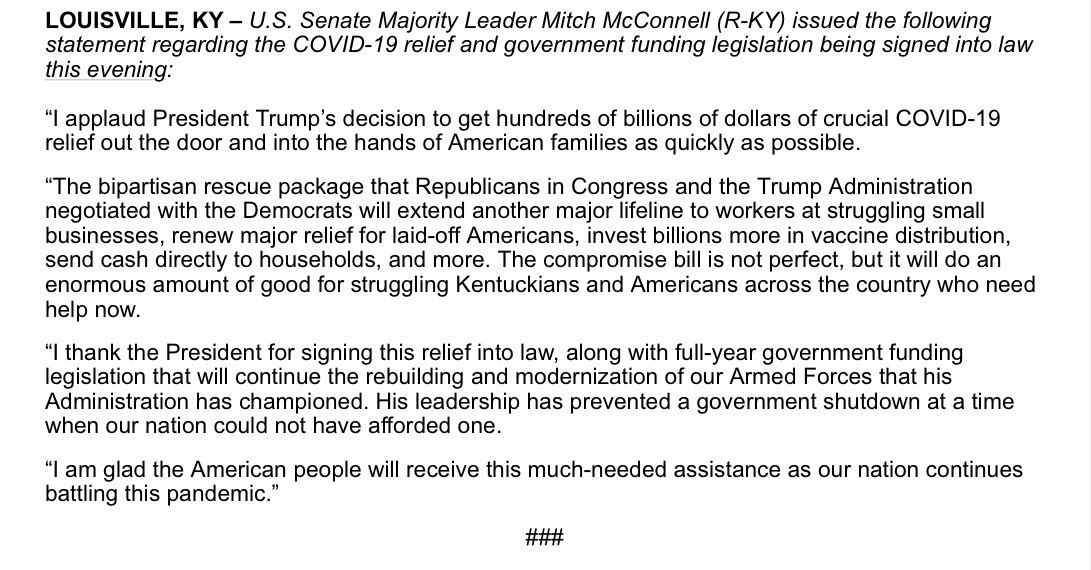 I applaud the President's decision to get billions of dollars of crucial COVID-19 relief out the door and into the hands of American families. I am glad the American people will receive this much-needed assistance as our nation continues battling this pandemic. My full statement: