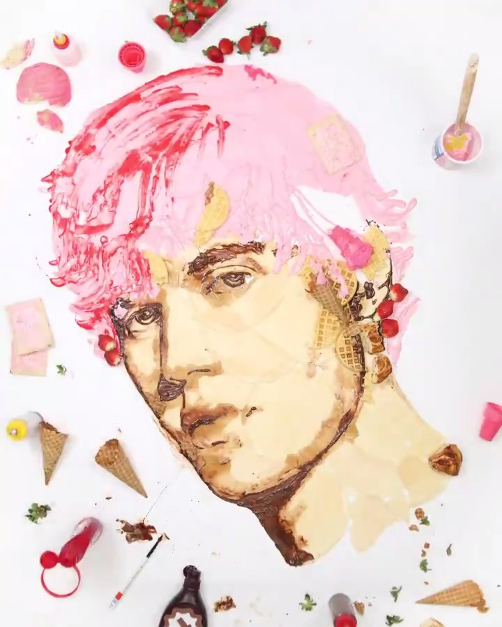 I heard it was #BeliebersDay, so this feels like the perfect time to talk about how much I love @justinbieber with this *yummy* portrait of him:   🎨: @jessie_bearden #MTVxJessieBearden