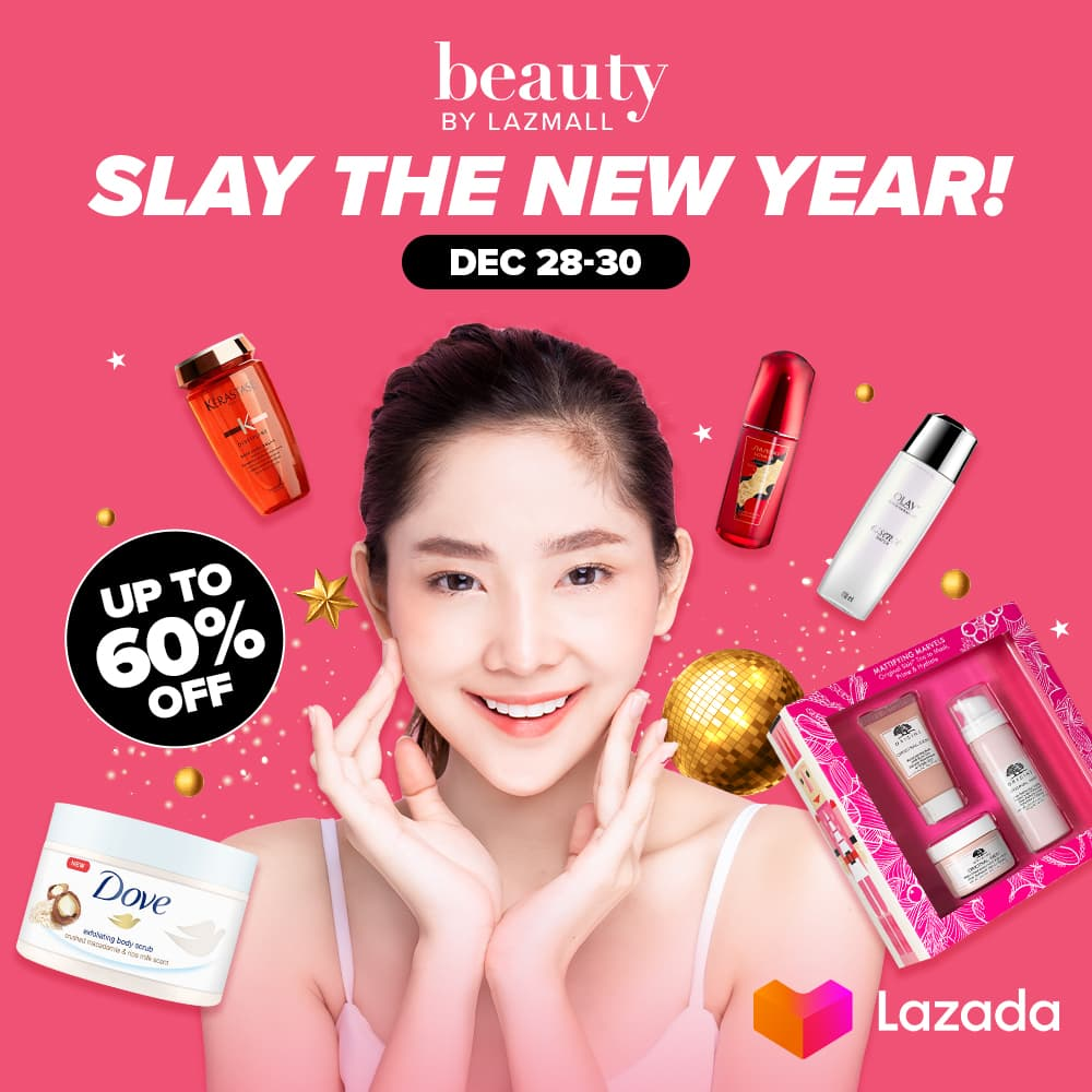 Slay the New Year with your favorite #BeautybyLazMall brands 💖 Enjoy mega year-end discounts up to 60% OFF + FREE SHIPPING from Olay, Dove, Shisiedo, and more!   Visit  to shop and check out from DEC 28-30! #LazadaPH
