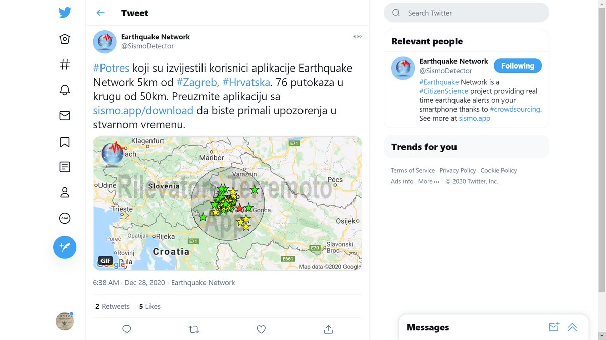 Mm Jym75 On Twitter Earthquake Potres Zagreb Ljubljana 28december Lastquake Sismodetector Information Https T Co Ttlkpmamks