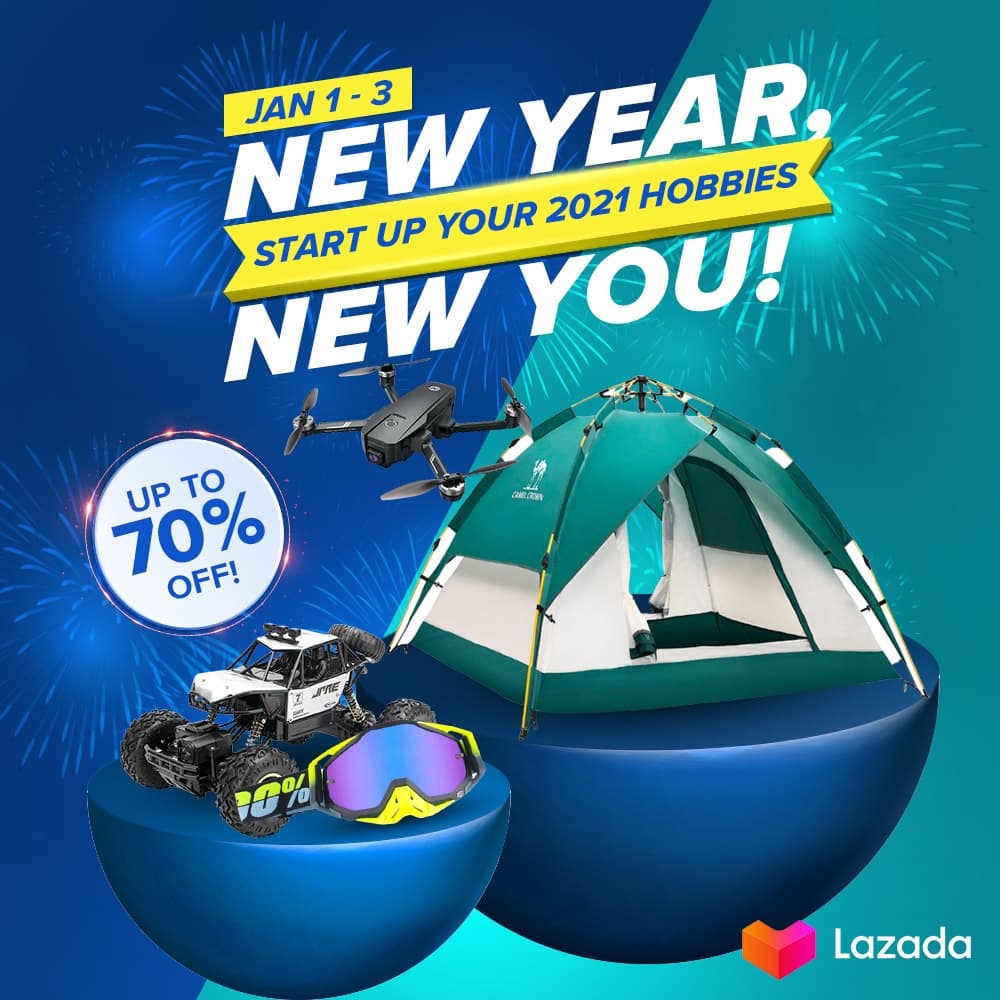 2021 is here! Looking for a fresh start via new hobbies? We gotchu! 💙 Shop your essentials for DIY projects, organizing, cooking & baking, sports & outdoor fun, and more from JAN 1-3 to enjoy up to 70% OFF!  Click  to check out now! #LazadaPH #LazGlobal