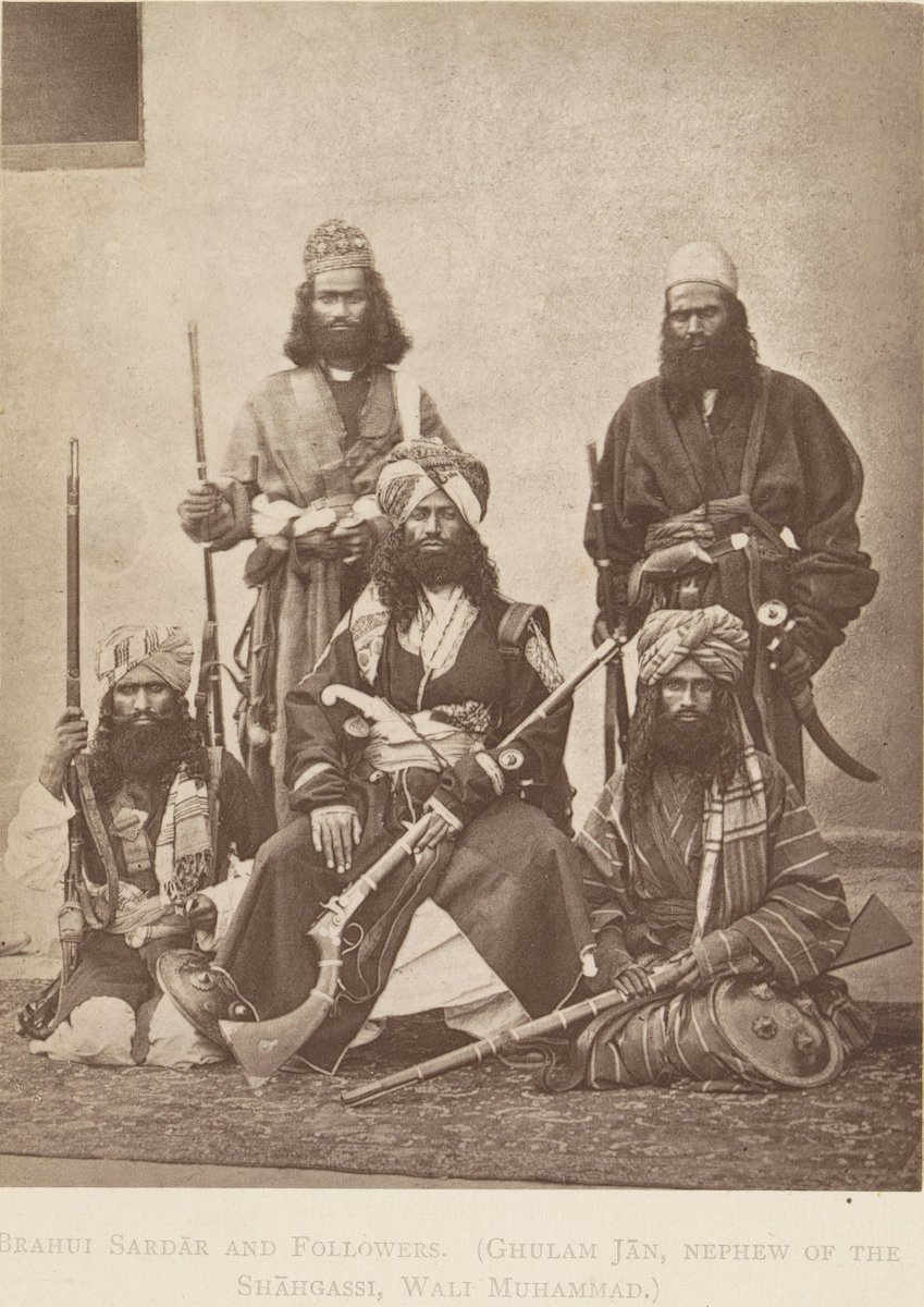 Brahui Sardar and followers (Ghulam Jan, nephew of the Shahgassi, Wali Muhammad), c. 1866 - in or before 1876. By anonymous photographer.