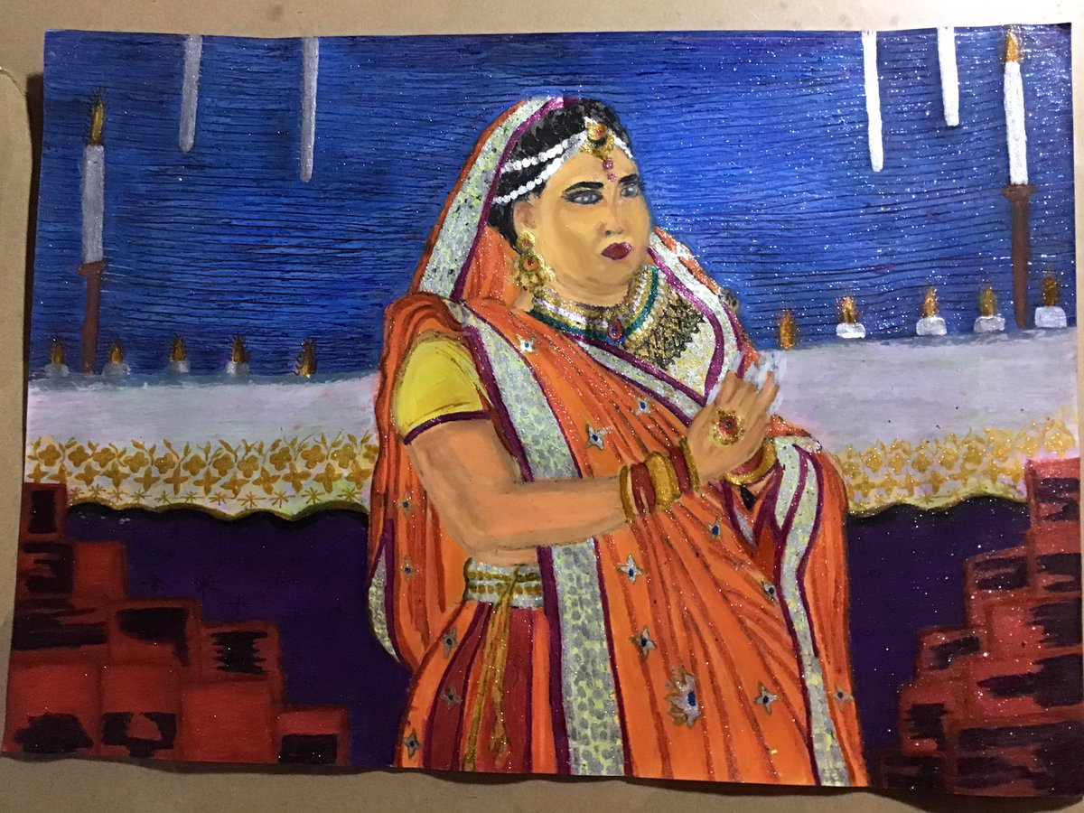 I'm decided Yesterday, on Sunday - 27 / December / 2020  I draw @MaryMillben #Painting from her virtual performance for #Diwali2020.   It's difficult to draw with oil pastel 🖍 Eventually, Finnished this Beautiful #MaryMillben #Art 🎨 today on Monday - 28 / December / 2020.