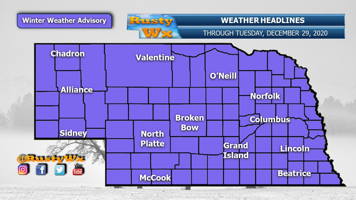 """A Winter Weather Advisory is in place for all of Nebraska for Tuesday. 2-4"""" of snow possible for just about everybody. 6"""" or so in portions of north central Neb. We might see freezing rain on and off, too. Kind of a mess."""