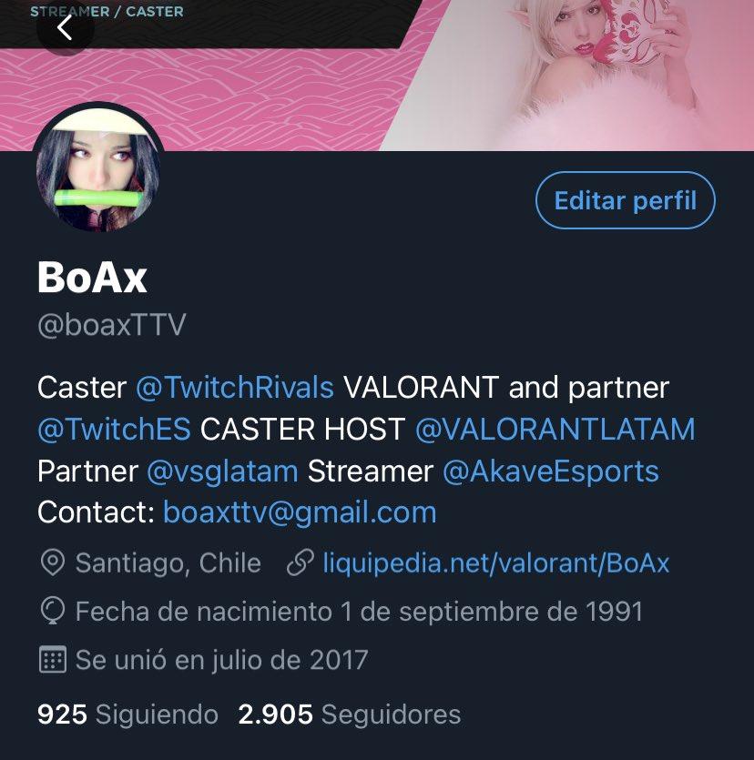 Ayudamos a Camila (@boaxTTV)? Es una de los mejores casters de #Valorant más talentosas de la región.   Que dicen? Faltan 90 seguidores! 😊☺️
