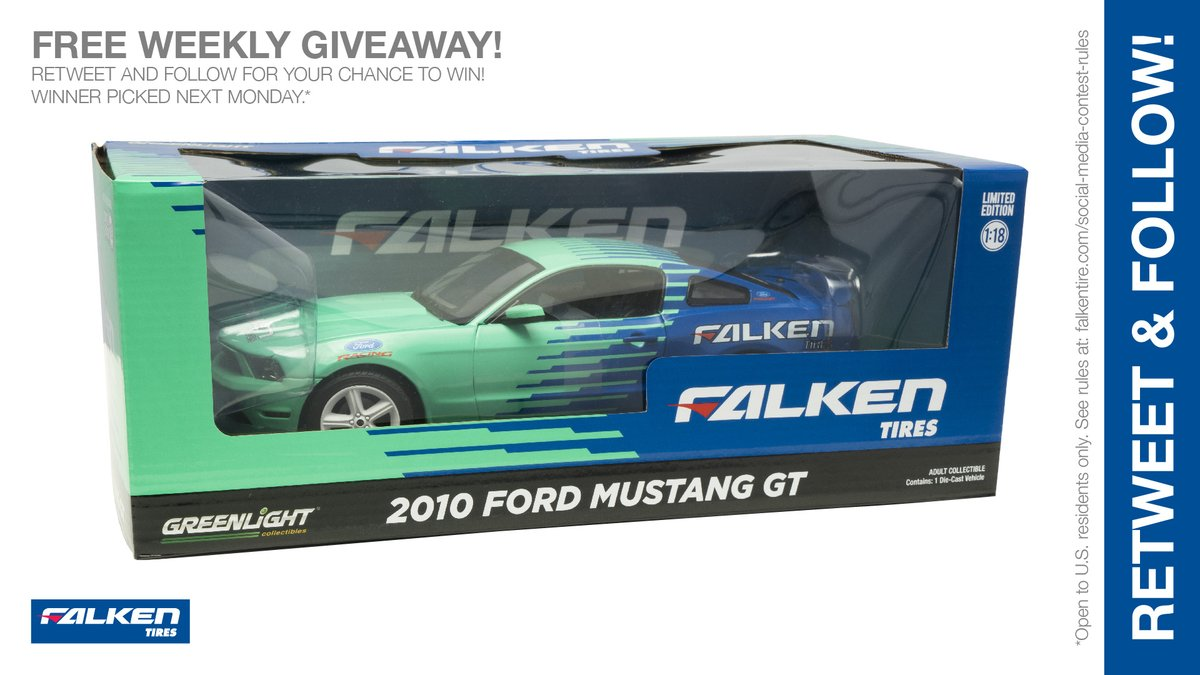 Falken 1:18 scale @GLCollectibles #FordMustang weekly #giveaway #contest. RT & follow #FalkenTire to enter to #win this #prize or other #swag! Day 1 Rules: