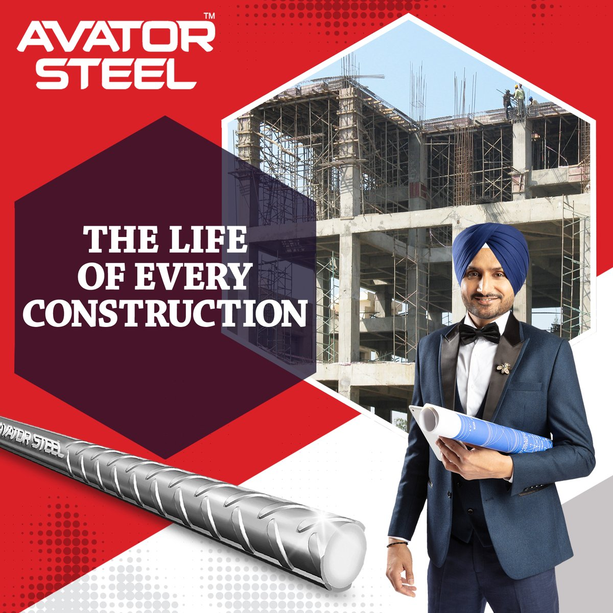 A strong home needs a strong foundation.  Make the foundation of your construction many times stronger with the strength of #AvatorSteel TMT bars.   @harbhajan_singh