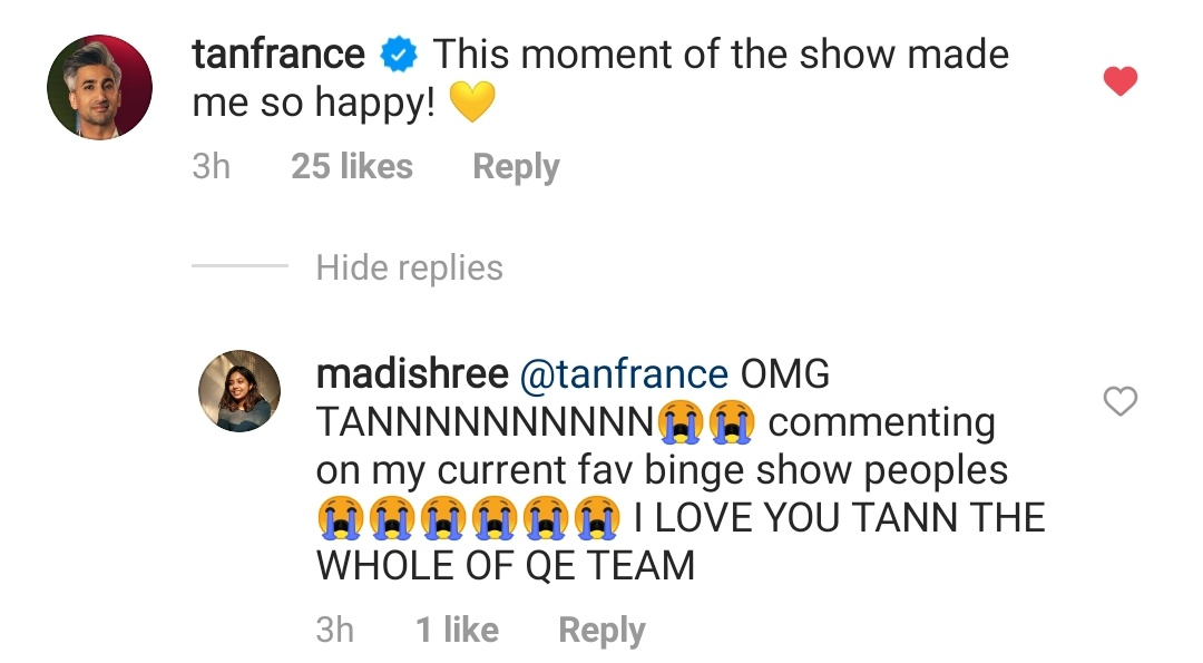 When #TheFabulousLives gets Queer Eyed :-) Tan France is watching. @manumaharshi @aneeshabaig ( and liking) @LazyEpicurean