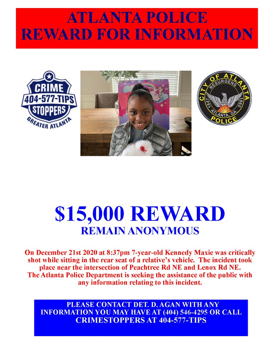 On December 27, we learned that 7-year-old Kennedy Maxie had succumbed to her injuries. Our collective hearts are broken. We extend our deepest condolences to the family & friends of Kennedy. Contact @StopCrimeATL anonymously or call 911 to share information on Kennedy's murder.