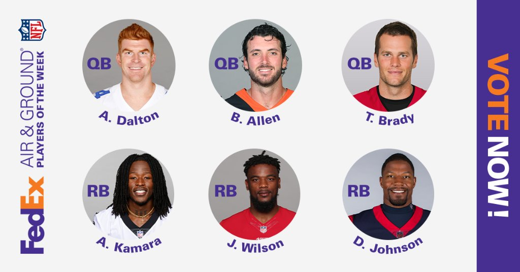 Who's getting your vote for Week 16 FedEx #AirandGround @NFL Players of the Week? Choose between Andy Dalton, Tom Brady or Brandon Allen and Alvin Kamara, Jeff Wilson or David Johnson, then cast your vote at .