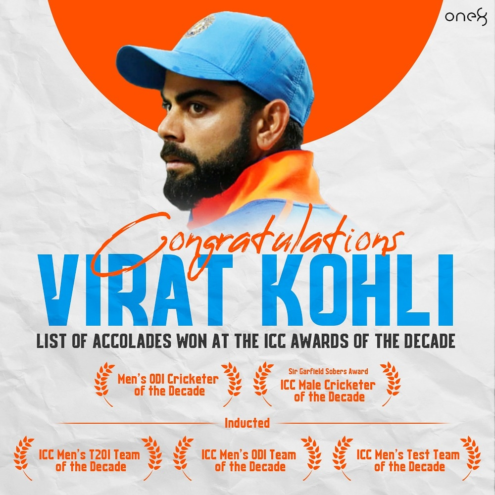 Congratulations @imVkohli  🏆Men's ODI Cricketer of the Decade 🏆 ICC Male Cricketer of the Decade ✔️ Part of the @ICC ODI, Test and T20I Team of the Decade.  Hardwork pays 👑  #one8