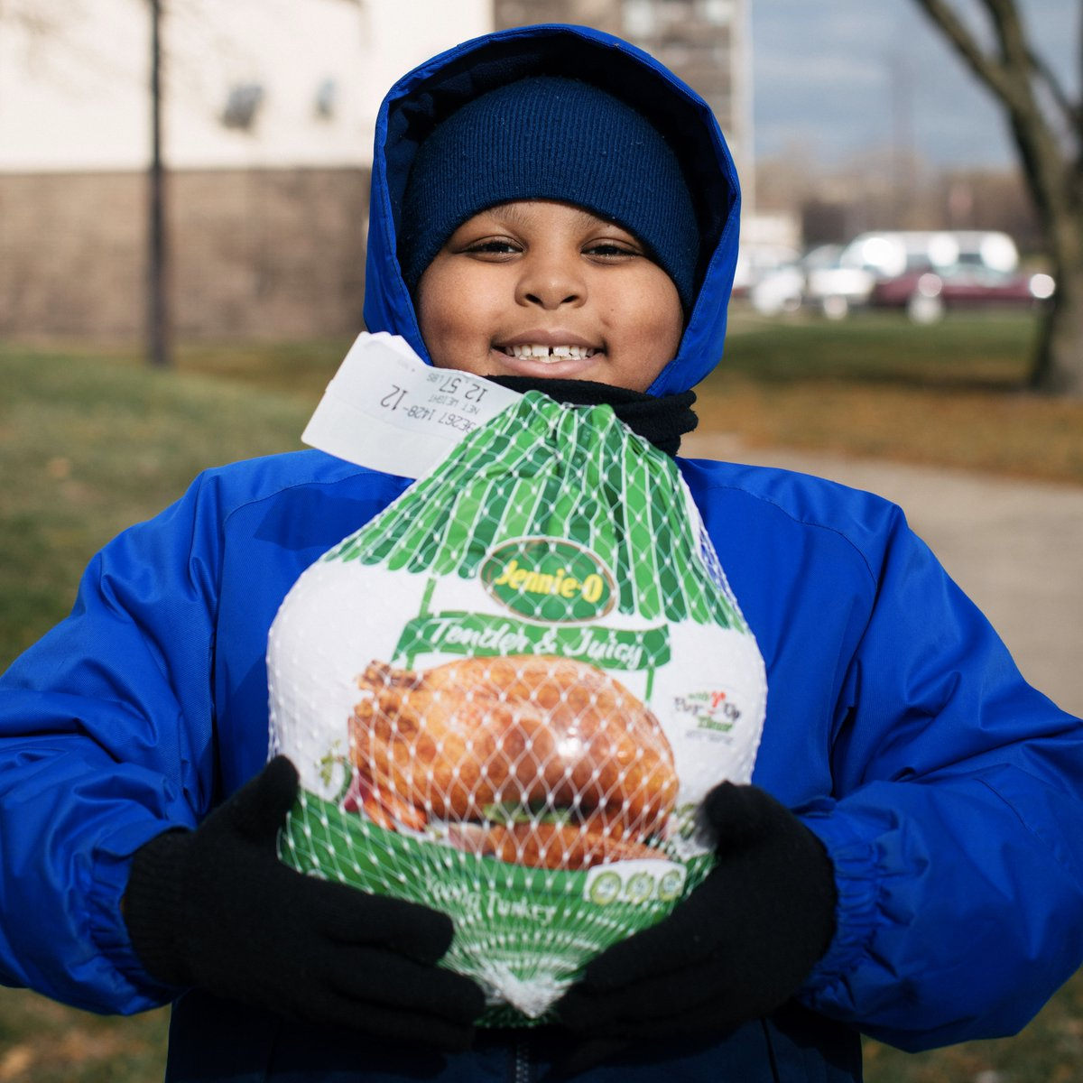 """""""Not having a turkey would have been sad. I'm excited that we have one now. It helps our family celebrate what we have."""" -Jaylen, 8  Thank you to everyone who helped this tough holiday season a little brighter. 🧡"""
