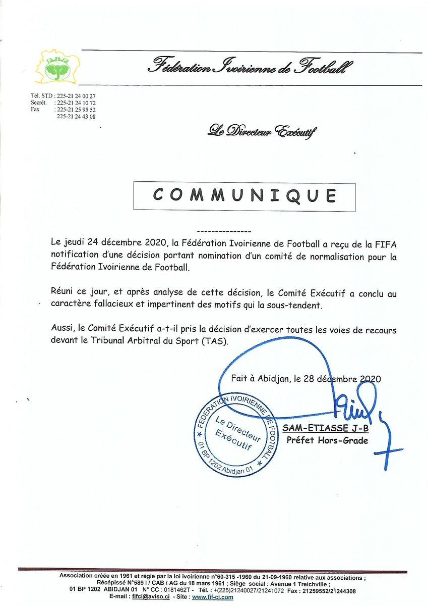 Affaire Normalisation de la FIF: Le Comité Exécutif va exercer toutes les voies de recours devant le TAS  Réuni ce lundi 28 décembre 2020 au siège de la Fédération Ivoirienne de Football (FIF) pour analyser l'action de la FIFA de nommer un Comité de Normalisation pour la FIF...