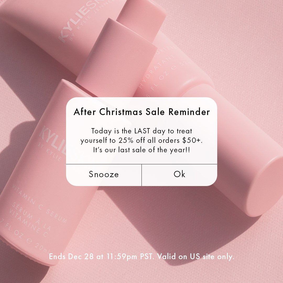 it's the last day of my @kylieskin After Christmas sale!! 25% off sitewide at