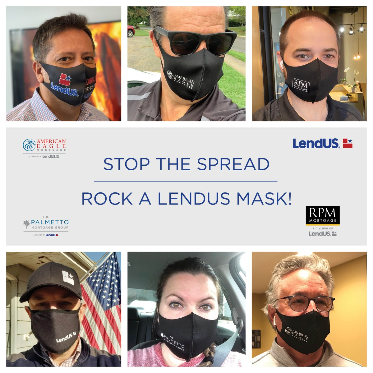 Our company places a high priority on ensuring that our employees are safe and healthy, and one way is through wearing masks! Check out some of our employees sporting their branded masks! #lendusfamily #lendus #rpmmortgage #americaneaglemortgage #palmettogroup https://t.co/WOOVAjFxi2