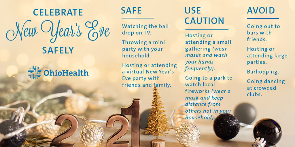 Ring in the #NewYear in the comfort of your own home with those who live there with you. Here are ways to celebrate safely, and times to use caution or try to avoid altogether. https://t.co/iUSPl0pvGu https://t.co/dlG39BmRPW